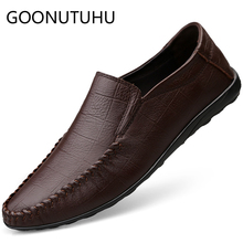 2019 new fashion men's shoes casual genuine leather loafers man brown black slip on shoe man flat driving shoes for men hot sale zyyzym men casual shoes pu leather fashion trend light flat driving loafers shoes for man hot sales