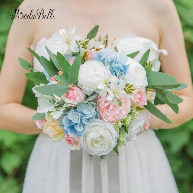 modabelle Artificial Bride Wedding Bouquet Blue Pink Hand Made Silk ...