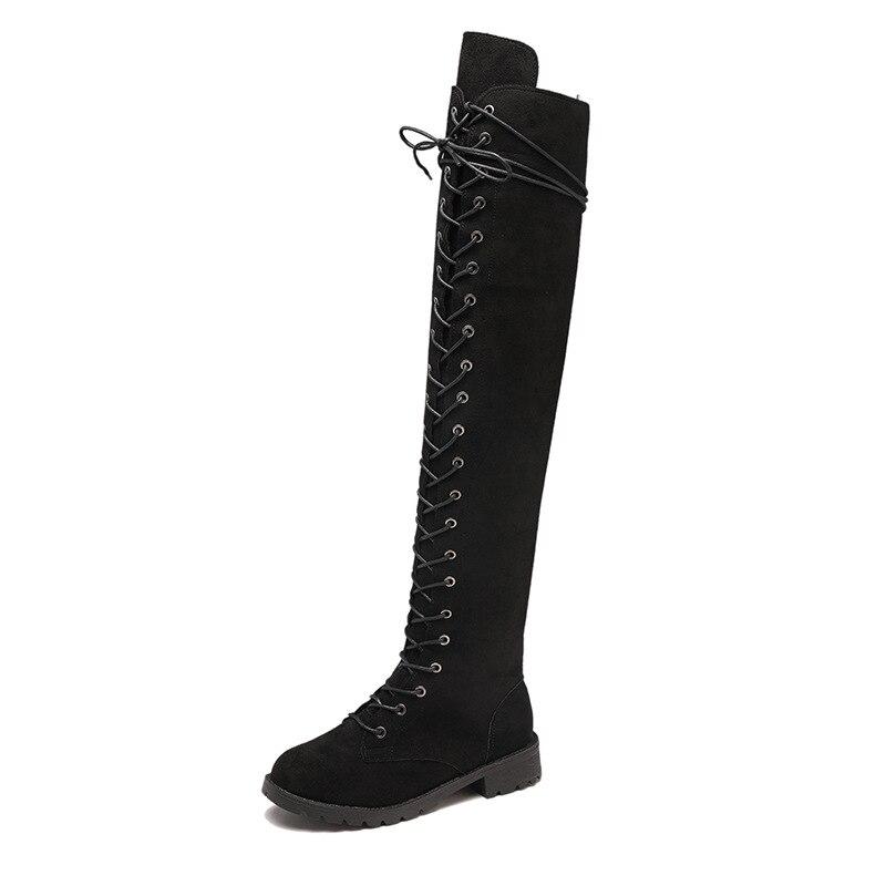 2018 t en daim femmes bottes de L'europe et les États-unis grande taille avant avec plat avec sauvage des femmes bottes noir ljj1105