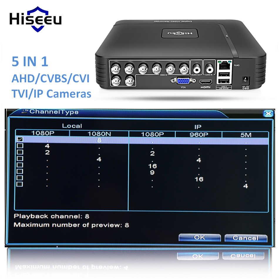 AHD 1080N 4CH 8CH CCTV DVR مسجل فيديو رقمي صغير 5IN1 ل CCTV عدة VGA HDMI نظام الأمن NVR صغيرة ل 1080P IP كاميرا Onvif DVR PTZ H.264