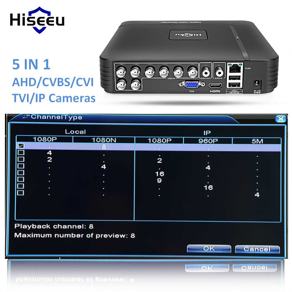 AHD 1080N 4CH 8CH CCTV DVR Mini DVR 5IN1 untuk CCTV Kit Vga HDMI Sistem Keamanan Mini NVR untuk 1080P IP Camera ONVIF DVR PTZ H.264