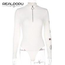 Turtleneck Long Sleeve Sexy Bodysuit Women Zipper Bodycon Skinny Printed Warm Shirt Romper Elegant Autumn Jumpsuit