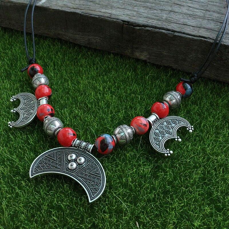 Rouge Perles En Céramique Avec Rigide Nouvelle Lune Longue Réglable Collier, 5 pcs Viking Tablier Robe Chaîne Collier Bijoux Pour Charme Femmes