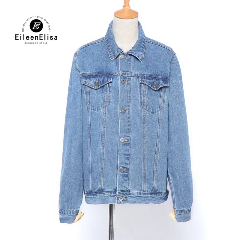Eileen Elisa Denim Jacket Women 2017 New Spring Autumn Fashion Denim Jacket With Pockets Jean Coats