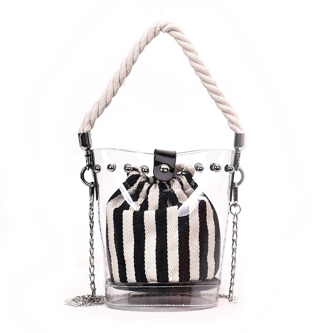 JHD Black New Fashion PVC Chain Diagonal Bag Fashion Transparent Hit color Stripe Rivet Hemp Single shoulder Diagonal Child ba