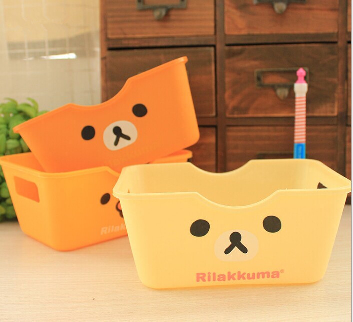1PC Cartoon Cute Lovely Bear Rectangle Desktop Collection Container Box Desk Finishing Storage Box For Home Office OK 0053