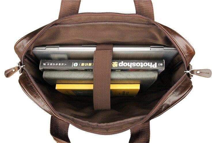Nouveau mode en cuir véritable hommes Messenger sacs en cuir de vachette homme croix sac décontracté hommes Commercial mallette sac # MD J7334 - 6