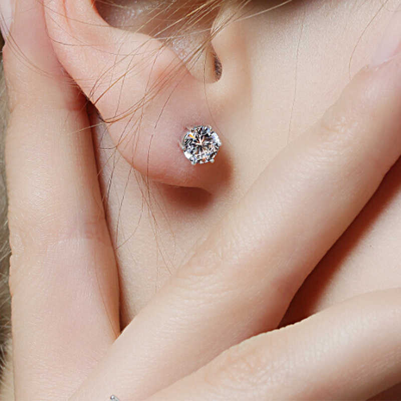 AAA+ Simple New Design Rhinestones Crystal Silver Stud Earrings Piercing Ear Studs for Women Wedding Party Gift Fashion Jewelry