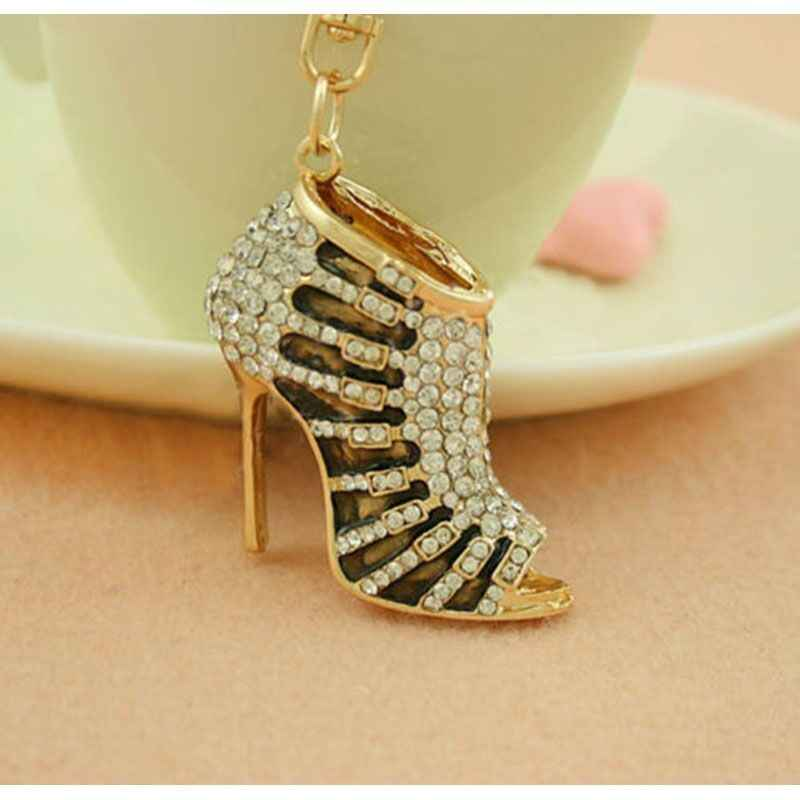 LLavero de cristal con diamantes de imitación de tacón alto para mujer, bolso con colgante, bolsos para coches, anillo para zapatos, cadenas, llaveros para mujer, regalos