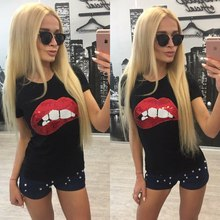 Hot Sale 2017 T-shirts for women summer short sleeve sequin red lips tshirt ladies fitness harajuku white black top tees