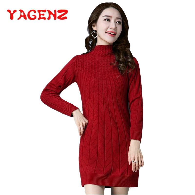 6a964d7c983a Cheap YAGENZ medio cuello alto suéter de punto Mujer abrigo largo de manga  larga jerseys Otoño