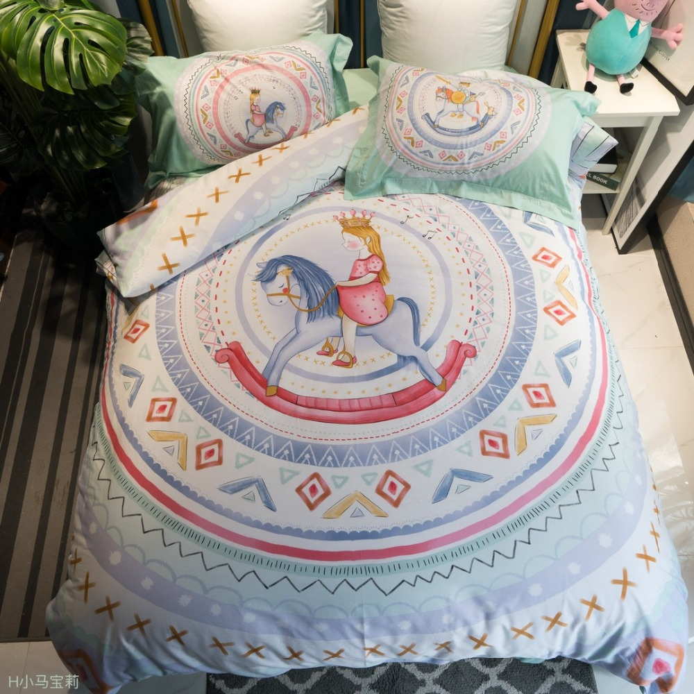 Trojan horse princess cartoon bedding set single size 100% cotton prince and Princess bed cover for kids girls boys 4pcs 5z (16)