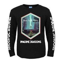 Bloodhoof לדמיין דרקונים שורשים רוק אלטרנטיבי אינדי פופ ארוך שרוול כותנה O צוואר חולצה אסיה גודל