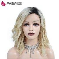 Fabwigs Ombre 613 блондинка парик Боб разовые Пермь волнистые короткий парик 250% плотность Синтетические волосы на кружеве человеческих волос пари