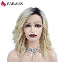 Fabwigs Ombre 613 Blonde Bob Wig One off Perm Wavy Short Human Hair Wig 250% Density Lace Front Human Hair Wigs Remy Hair