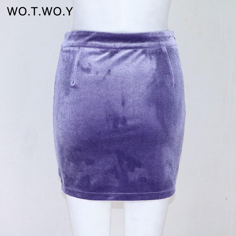 Image 5 - Lace Up Velvet Pencil Skirts Womens 2017 Spring Short Zipper Split Mini Skirt Women Elastic Bodycon High Waist Skirt D635-in Skirts from Women's Clothing