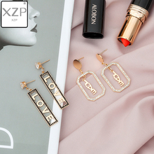 XZP Fashion Square Hollow Out LOVE Letter Earrings for Women Geometric Bohemian Dangle 2019 Trendy Statement Jewelry