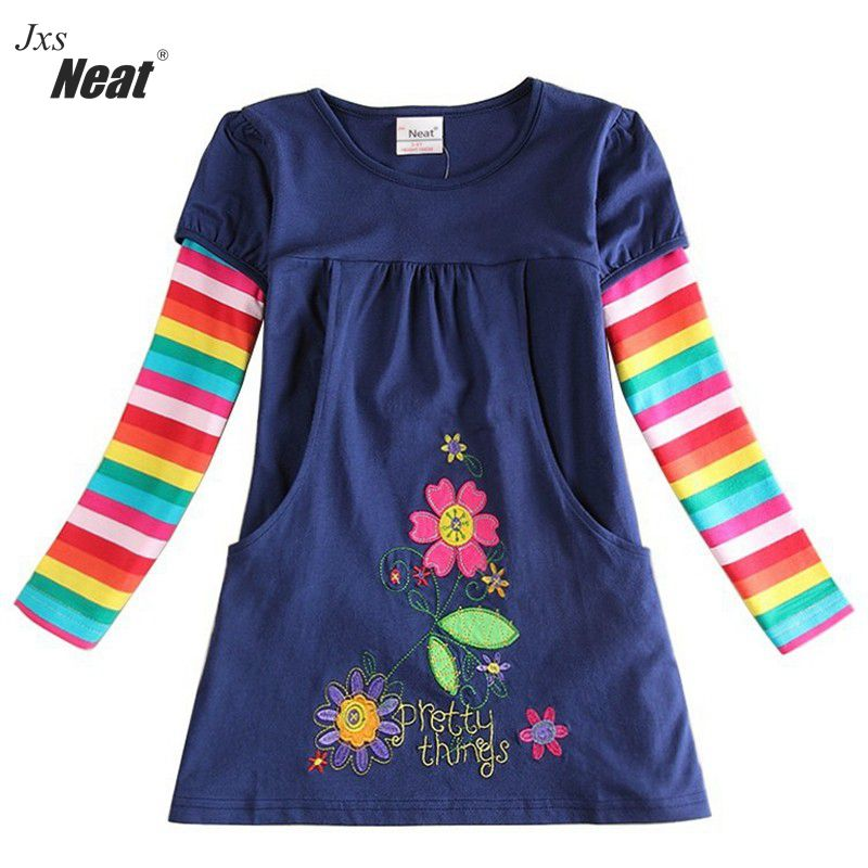 Baby girl dress 2017 NEAT brand round neck color striped pockets 100% cotton girl long sleeve clothes flower girl dresses H5802 color block round neck batwing sleeve sweater dress