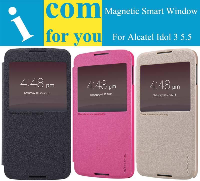 Nillkin Smart Wake Sleep Flip Leather case for Alcatel Idol 3 5.5 Window Slide answer cover for Idol 3