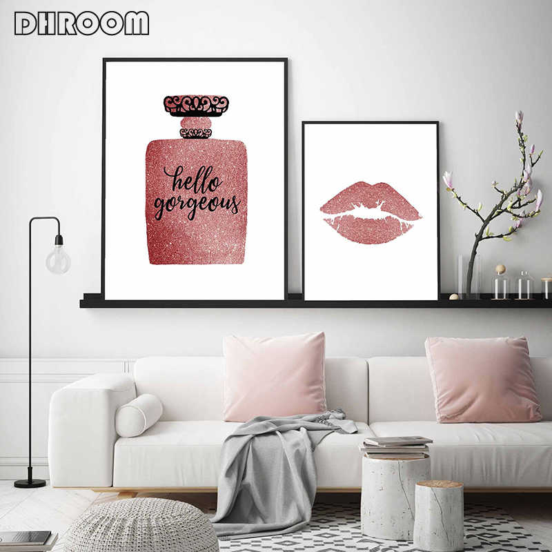 Rose Gold Decor Makeup Lashes Wall Art Lashes Canvas Painting Fashion Poster Print Perfume Wall Pictures Pink Bedroom Wall Decor Painting Calligraphy Aliexpress
