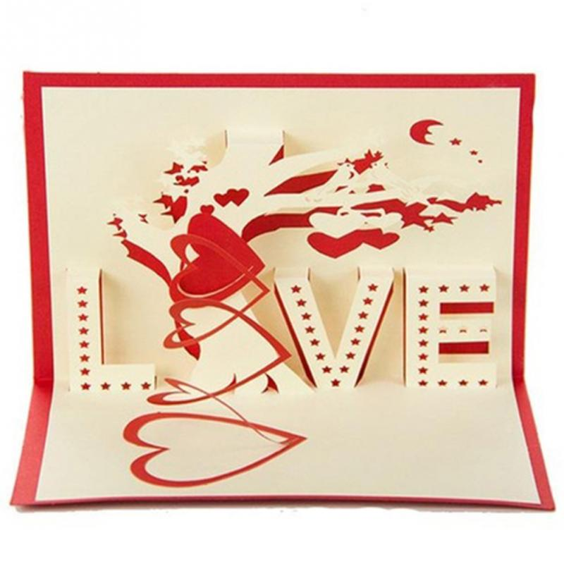 3D card love Valentine Greeting cards Hollow out design tree of love ...