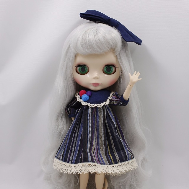 Neo Blythe Doll Stripe Printed Dress With Bowknot