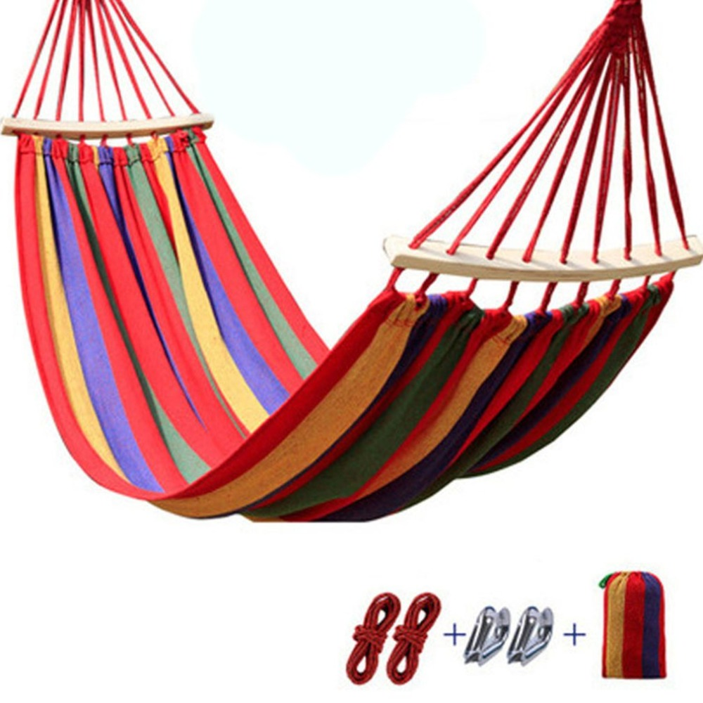 Portable Outdoor Hammock 280x 80cm 120 Kg Load-bearing Garden Sports Home Travel Camping Swing Canvas Stripe Hang Bed Hammock Sports & Entertainment Sleeping Bags