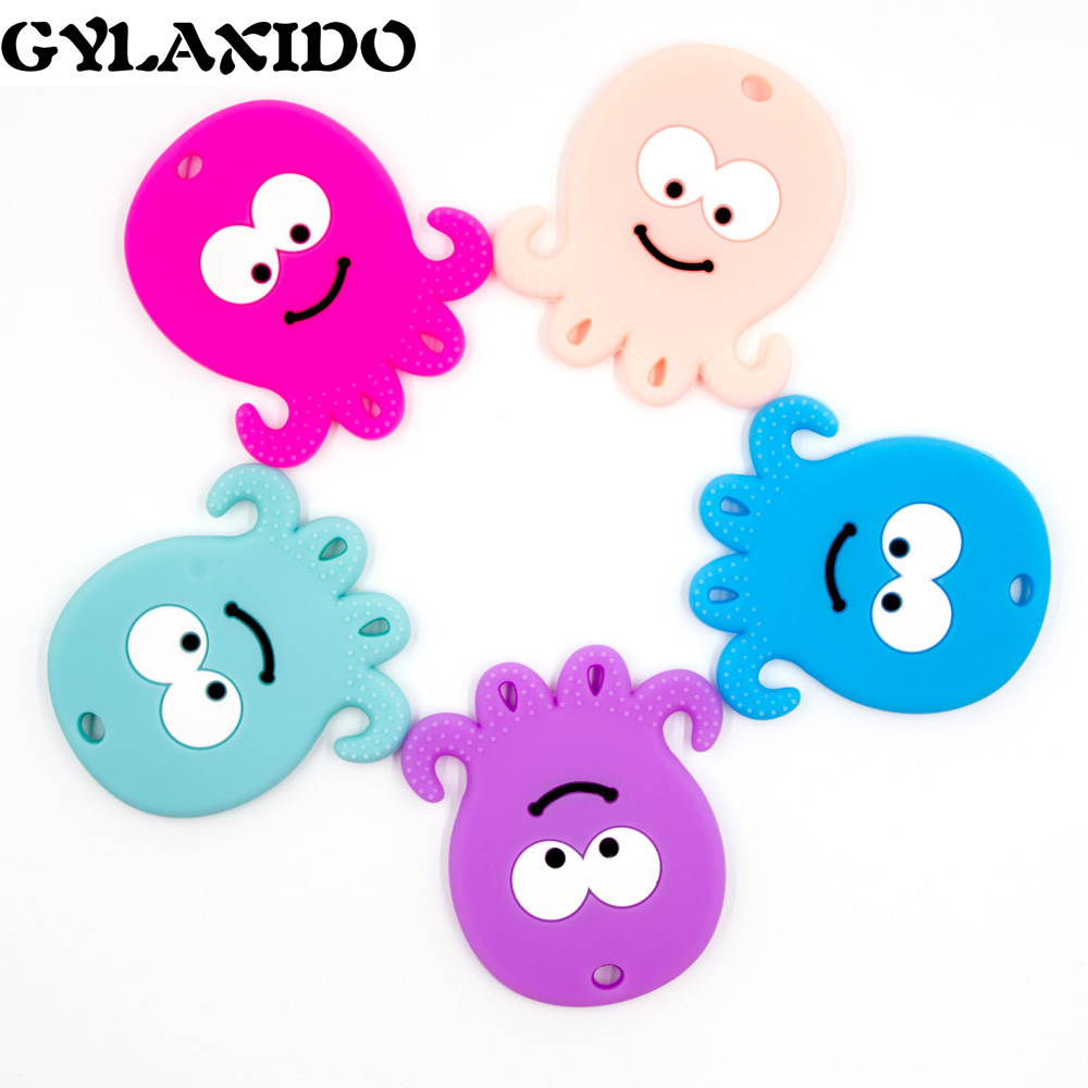 1PC Silicone Teether Cartoon Octopus Chewable Pendant For Pacifier Nursing Necklace Pacifier BPA Free Baby Teether DIY For Bead