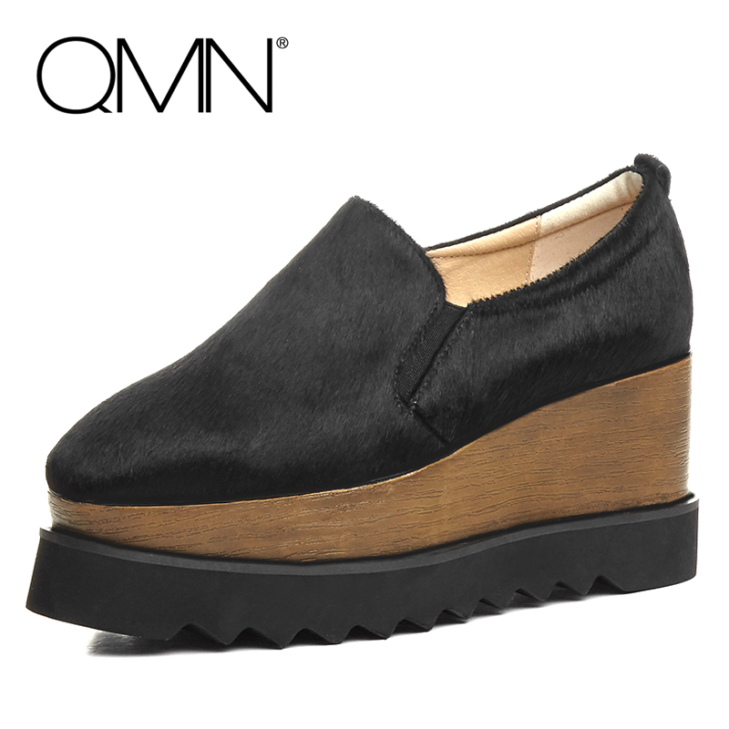 ФОТО QMN women genuine leather flats Women Horsehair Loafers Retro Square Toe Slip On Flat Platform Shoes Woman Creepers 34-42