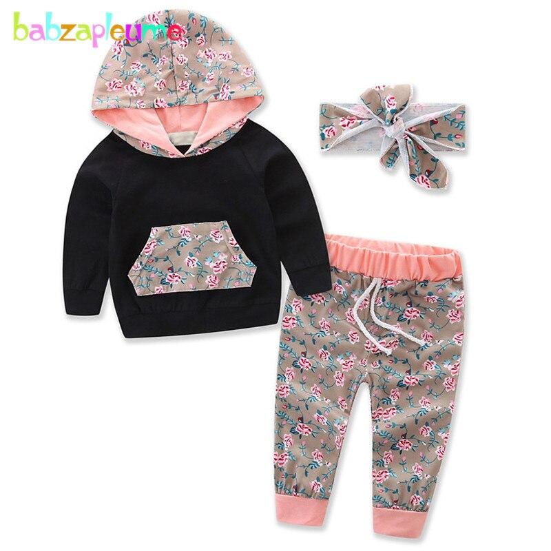babzapleume 2Piece/3-24Months/spring autumn newborn baby clothes hooded t-shirt+pants+headband infant girls clothing sets BC1543