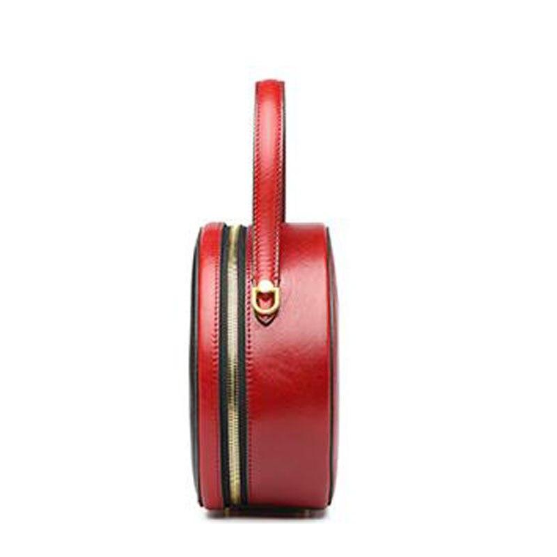 Женские сумки из натуральной кожи, новинка 2019, небольшая круглая сумка с контрастным цветным принтом, модная сумка через плечо, сумка через ... - 5