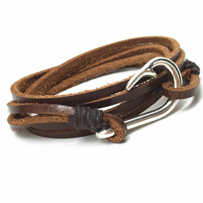 Fashion Handmade Multilayer New Punk Vintage Fish Hook Charm Wrap Brown Genuine Leather Bracelets Men Women Jewelry Accessories