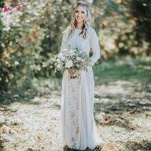 Retro Vintage Lace Bohemian Mermaid Wedding Dress Long Sleeves Backless Summer Beach Boho Bride Dresses 2020 vestido de  ZW076