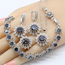 Rainbow Zirconia 925 Silver Bridal Jewelry Sets For Women Necklace Pendant Earrings Rings Bracelets