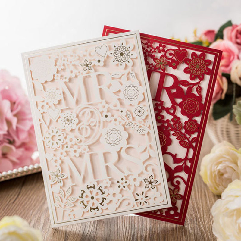 50Pcs White Red Laser Cut MR And MRS Marriage Wedding Invitation Card Hollow Customized Printing Invitation Card Party Supplies wholesale an p610lp lamp with housing for sharp xg p560w xg p560wa xg p560wn xg p610x xg p610xn projectors