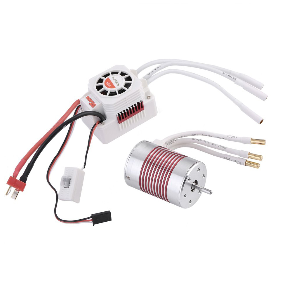 Upgrade Waterproof 3650 4300KV Brushless Motor With 60A ESC Combo Suitable For 1:10 Rc Car Models hobbywing ezrun max8 v3 t trx plug waterproof 150a esc brushless esc 4274 2200kv motor led program card for 1 8 rc car crawler