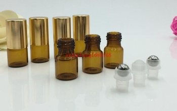 Free shippping 200pcs/lot  3ml Refillable Amber Brown MINI ROLL ON GLASS fragrance ESSENTIAL OIL BOTTLE Steel Metal Rolle