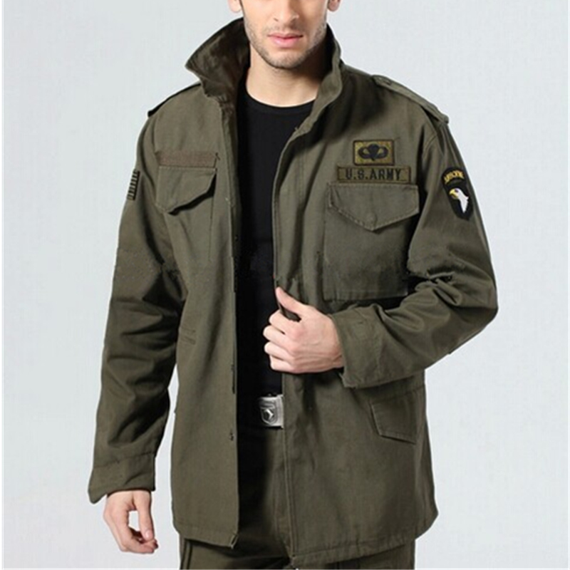 Useful Military Tactical Jacket For Men Army Fans Outdoor M65 Windbreaker Jacket Removable Liner 101st Airborne Division Hiking Clothings Hiking Jackets