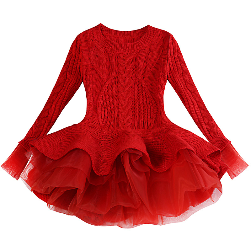 Girl Clothe Winter Dress Wool Knit New Year Long Sleeve Gown Princess Kids Children Christmas Red Toddler Wonder 5t Girl Dress in Dresses from Mother Kids