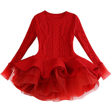 Girl Clothe Winter Dress Wool Knit New Year Long Sleeve Gown Princess Kids Children Christmas Red Toddler Wonder 5t Girl Dress цена в Москве и Питере
