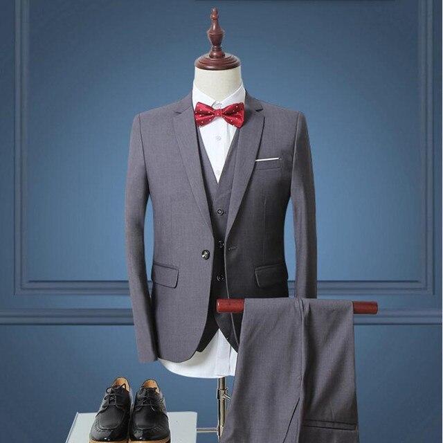 New style Men Suits fashion men wedding Suits pure color groomsman ...