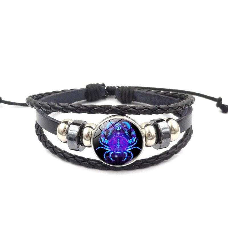 12 Zodiac Signs Braided Leather Bracelet For Men Women Virgo Scorpio Leather Male Bracelets Men Women Fashion Jewelry Pulseras Браслет
