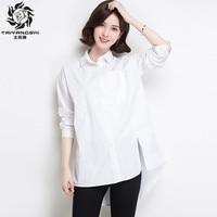 Ladies Blouse Shirt Women Long Sleeve 100 Cotton Turn Down Collar Work Wear Blouses White Blusa