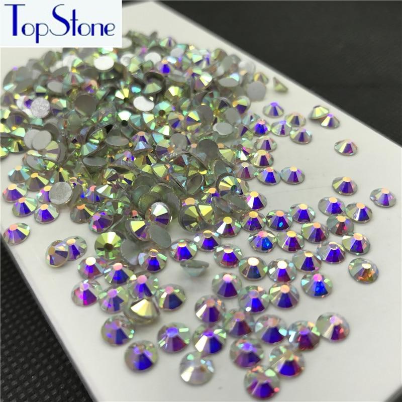Topstone Crystal Clear AB Color ss3-ss34 Круглый стеклянный кристалл Flatbacks Nail Art 3D Камни Клей на нефиксированные стразы