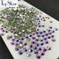Topstone Crystal Clear AB Color ss3-ss34 Round Glass Crystal Flatbacks Nail Art 3D Stones Glue On Non Hotfix Rhinestones