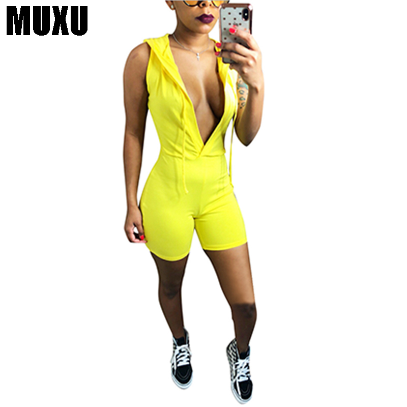 MUXU Sexy Solid Color Bring Hats combinaison short 4 Color Optional rompers womens jumps ...