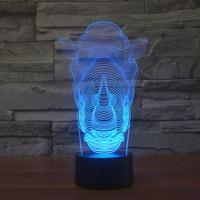 Free Shipping 3D illusion night light rhinoceros shape LED table lamp as gift