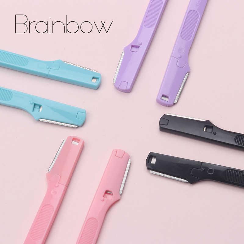 Brainbow 2 ピース/パックカラフルな眉毛トリマー安全メイクナイフ眉ブレード顔脱毛スクレーパーシェーバー化粧美容ツール
