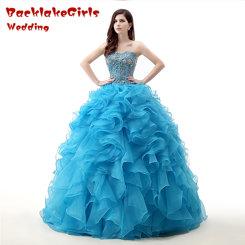 Real Brilliant Blue Ball Gown Long Evening Dress Crystal Sequined Ruffles Organza Sweetheart Customized Porm Celebrity Dresses