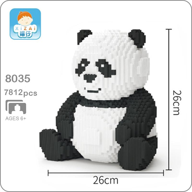Xizai 8036 Cartoon China Bear Cat Panda Animal Pet 3D Model DIY Mini Micro Building Blocks